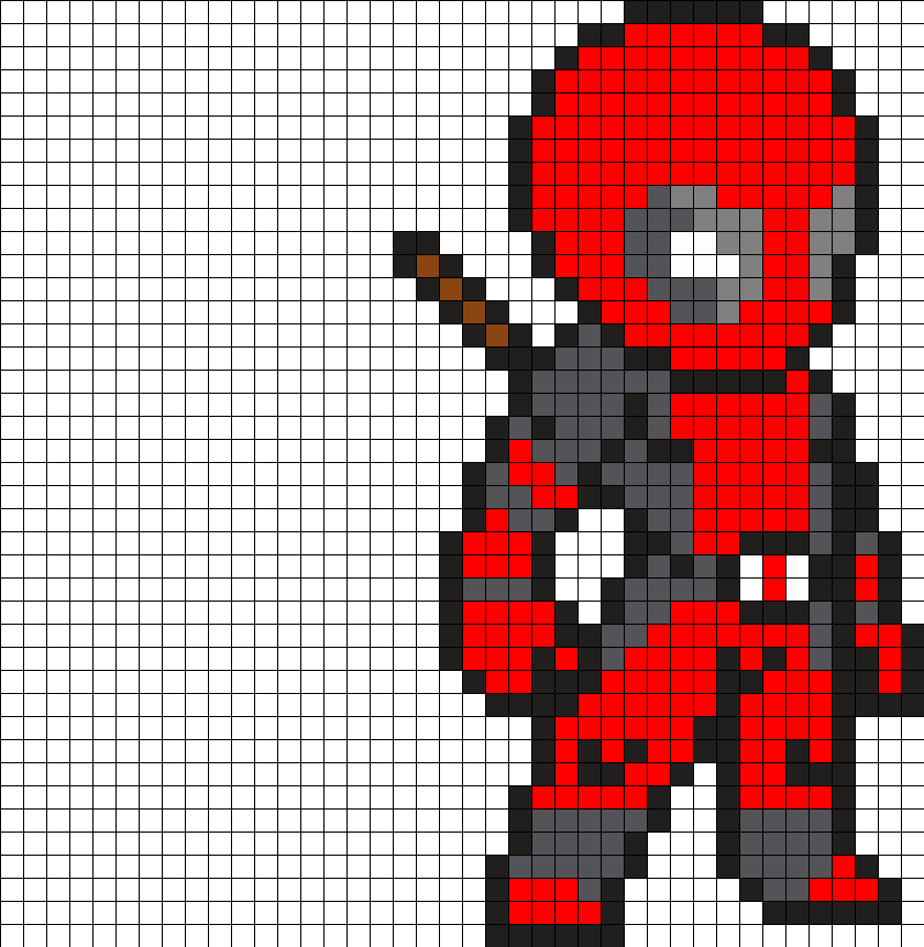 Pixel Art Deadpool Facile
