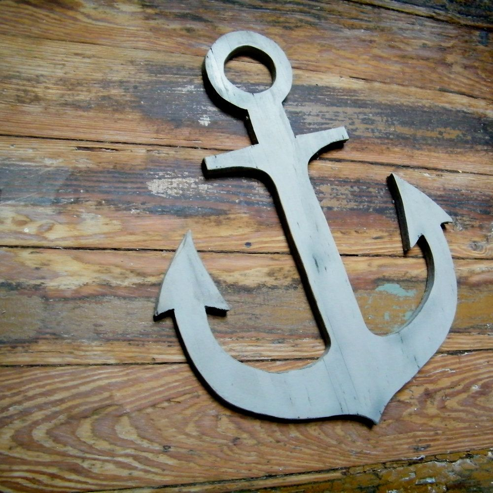 Wooden Anchor Wall Decor anchor wooden nautical distressed beach coastal lake wall decor