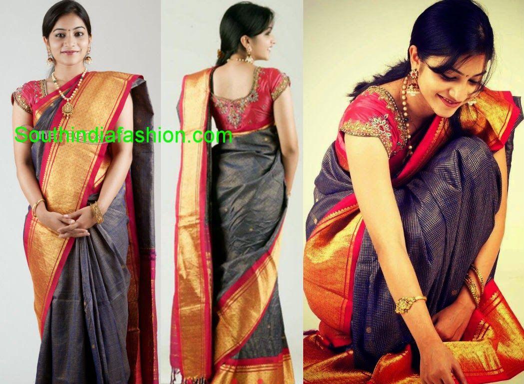 Jyothika traditional sari at shobi wedding saree blouse patterns - Punarnavi In Traditional Saree Celebrity Sarees Designer Sarees Bridal Sarees Latest Blouse