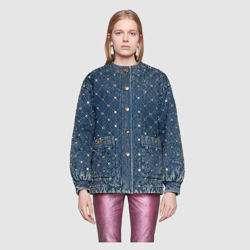 93a684294 Gucci - Quilted marble denim jacket with crystals | COATS/JACKETS in ...