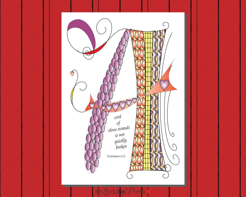 A Cord Of Three Strands Scripture Wedding Bridal Shower Print Digital File Instant Download Bible Bible Verse Art Wedding Scripture Cord Of Three Strands