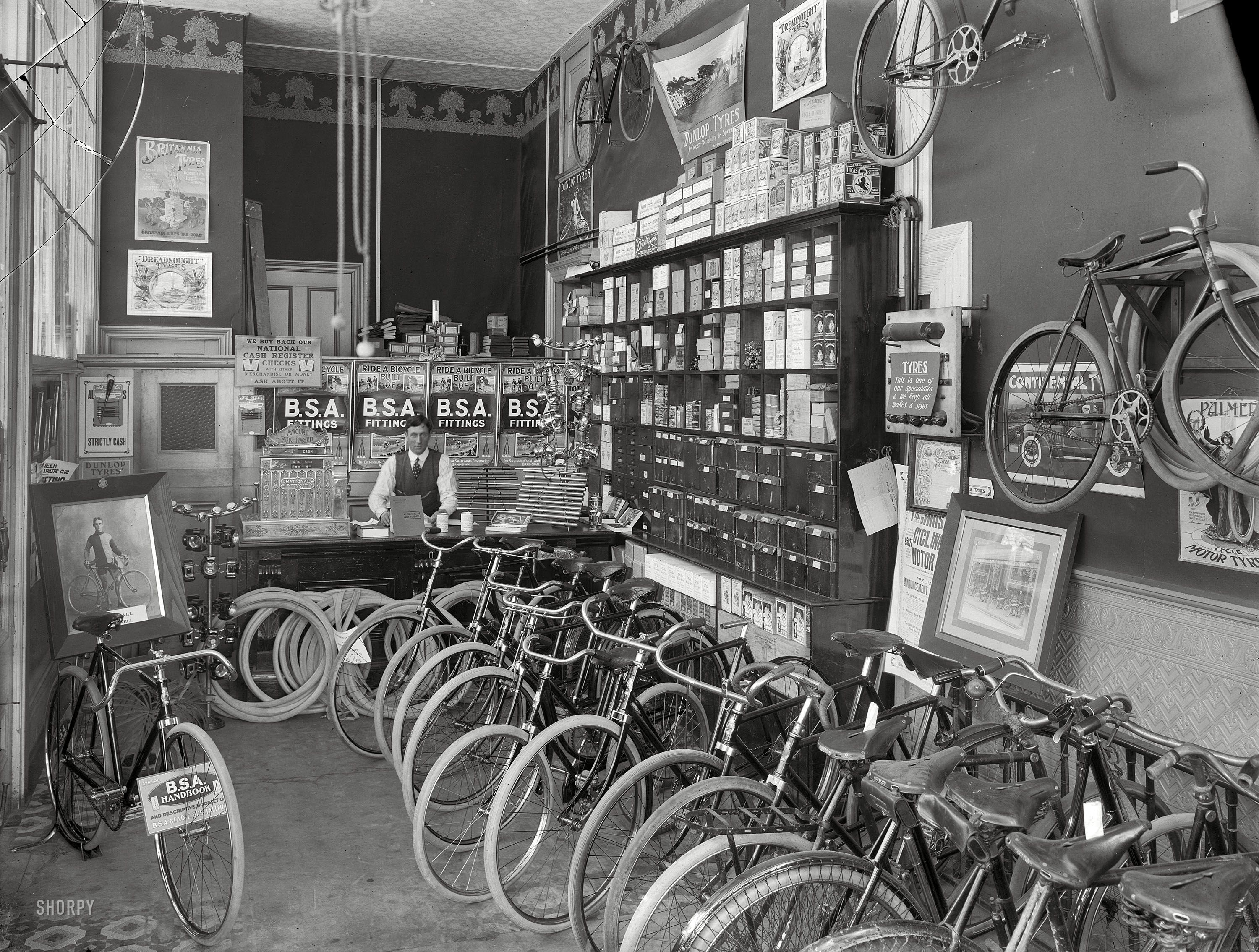 Shorpy Historical Photo Archive Tyres Fittings 1910 Bike Shop Cycle Shop Shorpy Historical Photos