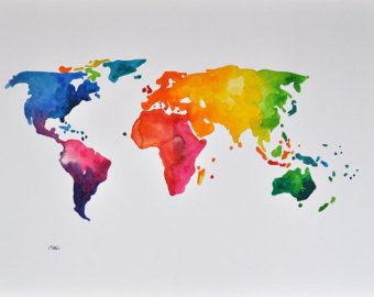 World Map - Rainbow Passion - Abstract - Digital Painting 2 ...