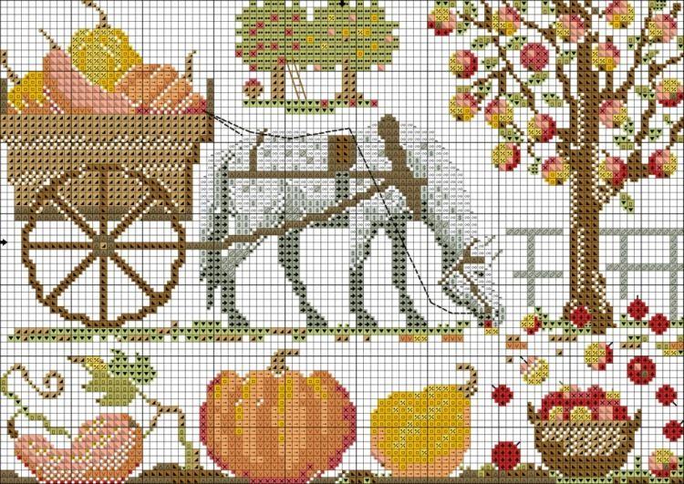Схема вышивки лошадь примитив