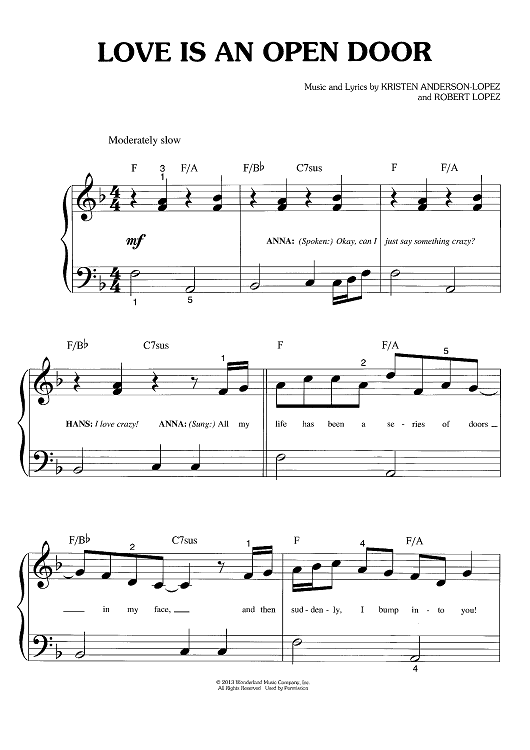 Love Is An Open Door (Big Note) Sheet Music by Robert