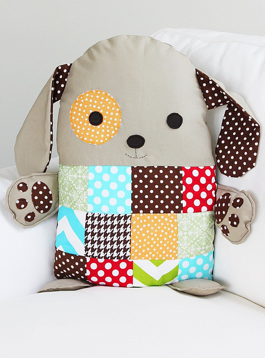Patchwork Sewing Pattern Stuffed Toy Dog Pillow by GandGPatterns