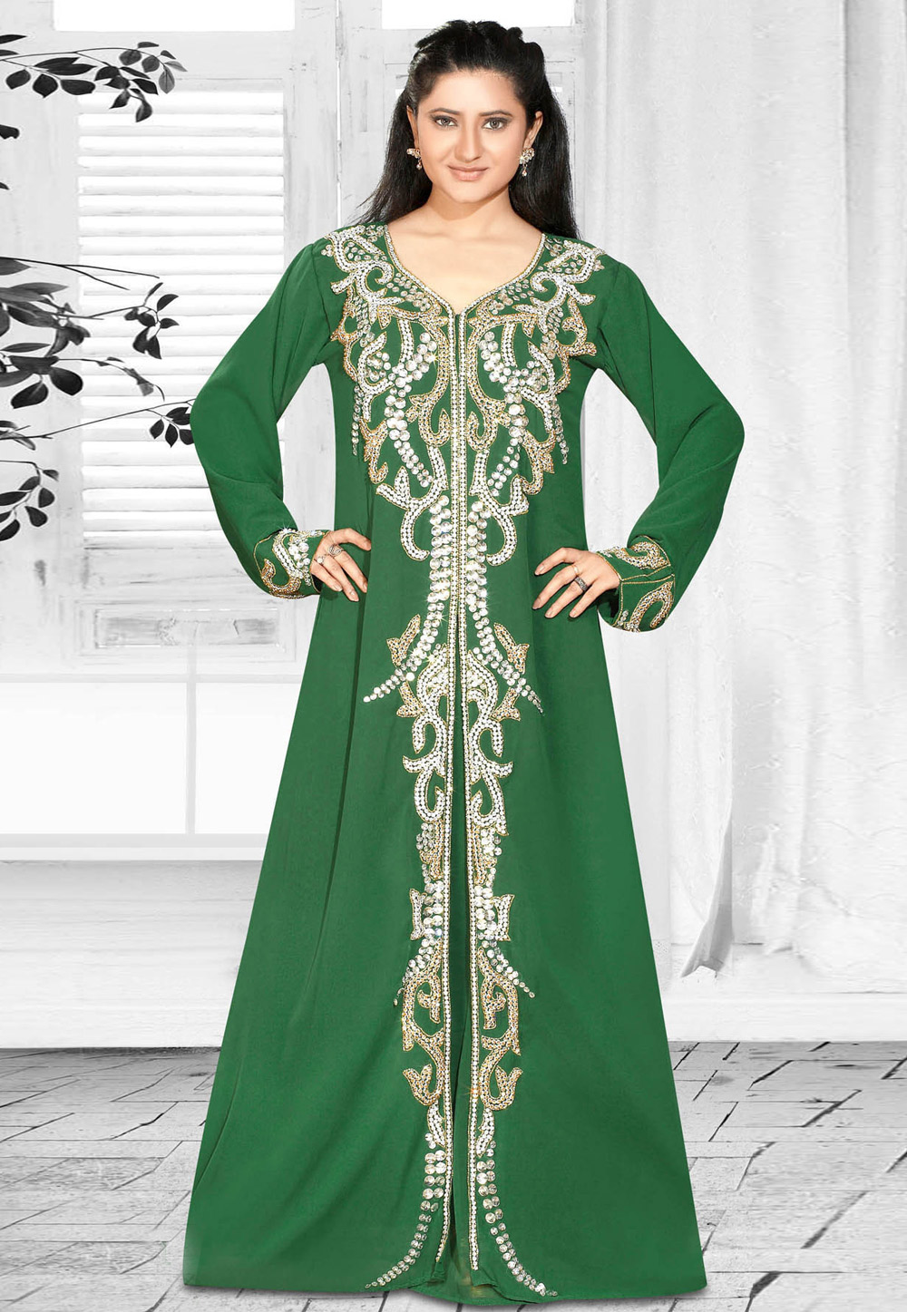 Buy Green Faux Georgette Embroidered Readymade Kaftan ...