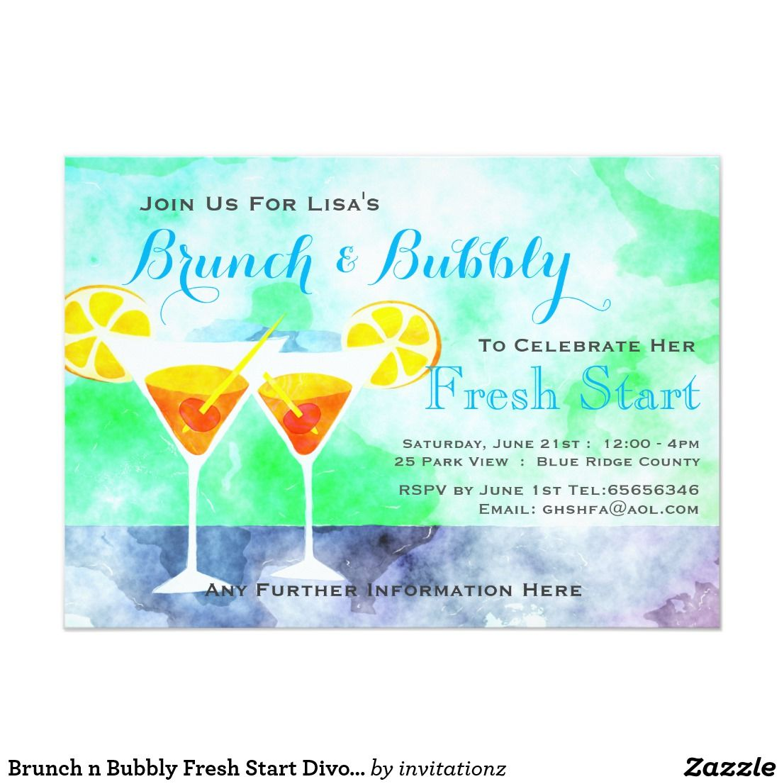 n Bubbly Fresh Start Divorce Party Invites