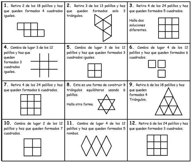 Geometria Con Palillos 1 Ejercicios De Logica Matematica Olimpiadas Matematicas Pasatiempos Matematicos