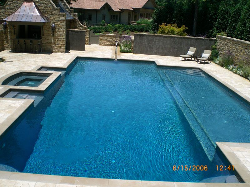 Cox pools llc birmingham al pool back yard ideas for Pool design with tanning ledge