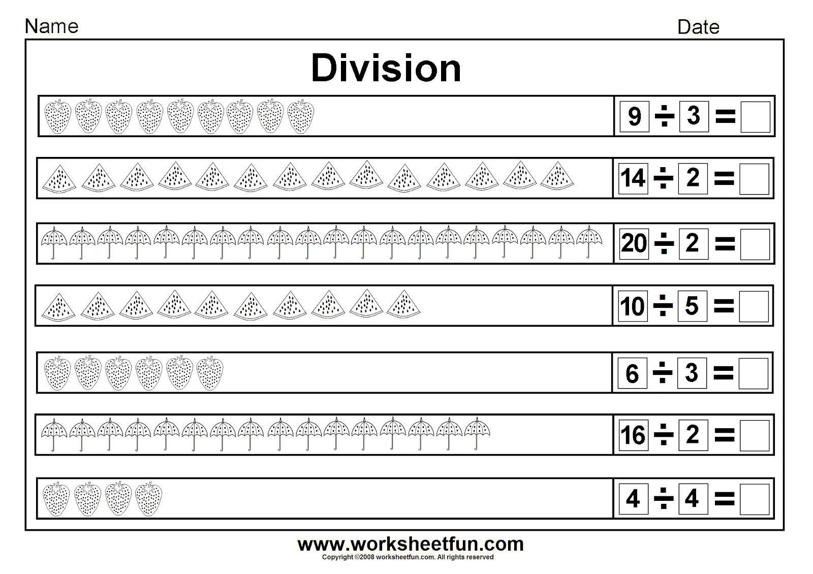 Worksheets 3 Grade Division Worksheets division worksheets beginner picture sharing equally 14