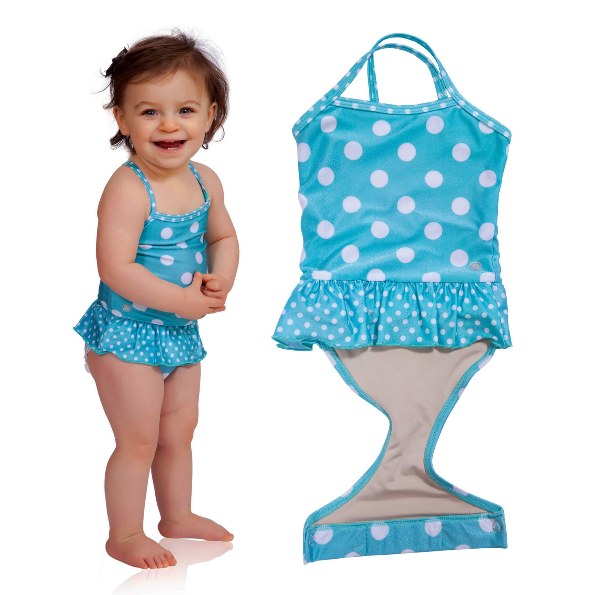 514ae6d4b0e60 Aqua Polka Dot toddler girl swimsuit with ruffle by FASTEN. Features  patented design that opens at the waist, making diaper changes and bathroom  breaks ...