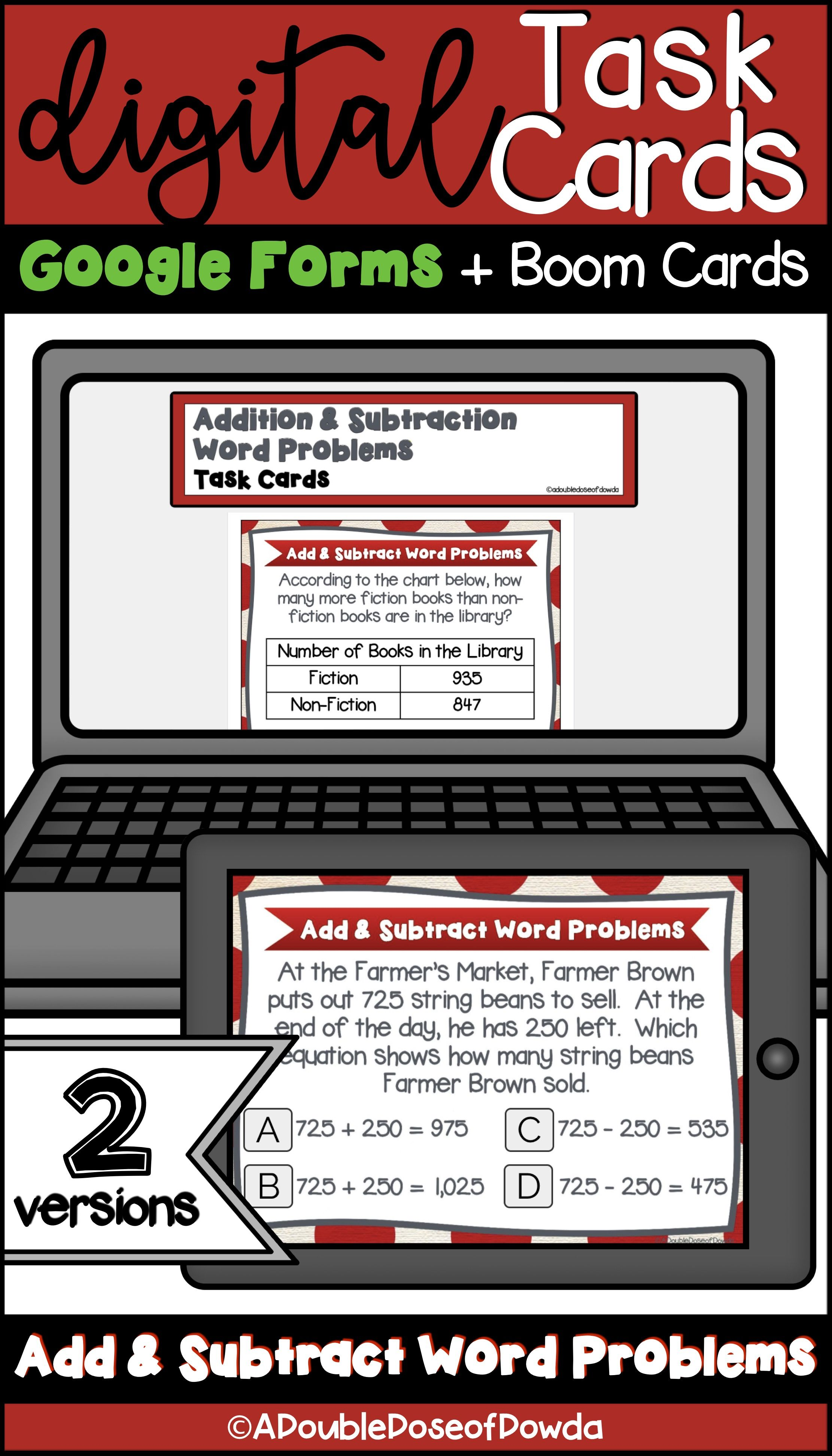Self Grading Addition And Subtraction Word Problems For