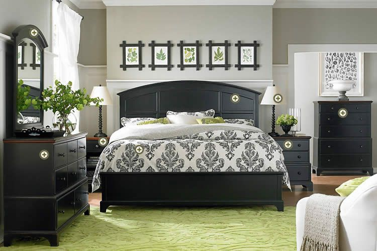 Love The Contrast With The Black Furniture And Green Accents Home Home Decor Bedroom Black Bedroom Furniture