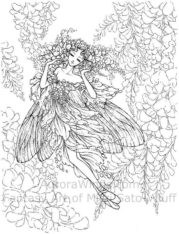 Artists Colouring Book Art Nouveau : Image detail for coloring page with stunning elf queen adult