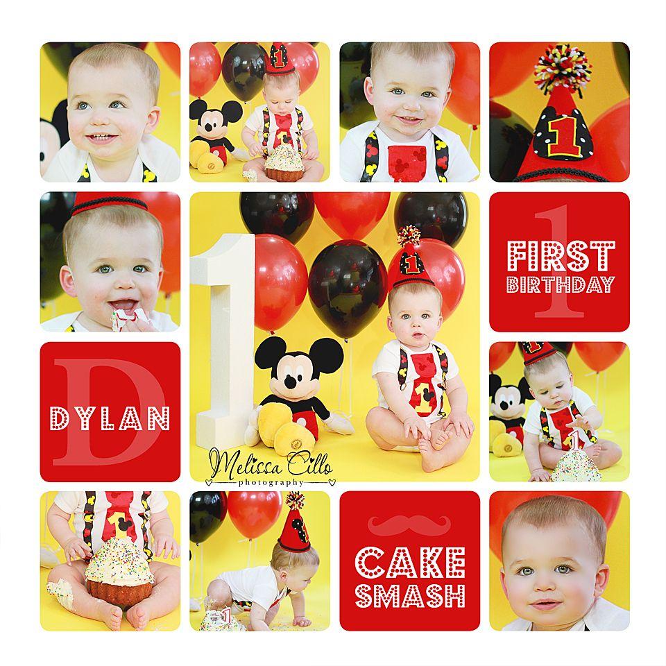 Mickey Mouse 1st Birthday Smash Cake: 1st Birthday Baby Boy