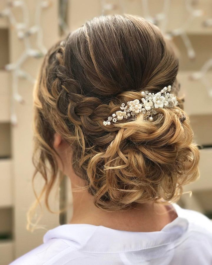 Soft front braided updo bridal hairstyle Get inspired by ...
