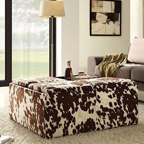 Home Creek Cowhide Print Storage Cocktail Ottoman With Images Fabric Storage Ottoman Cowhide Ottoman White Cow Hide