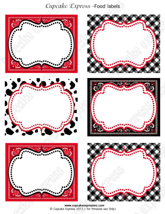 INSTANT DOWNLOAD diy Cowboy Birthday Party PRINTABLE Food Labels red ...