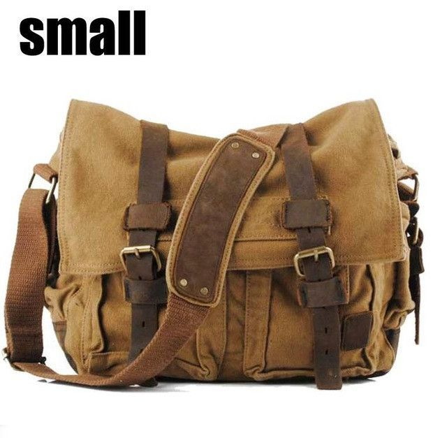 Men s Canvas Leather Military Army Vintage Crossbody Messenger Bag ... 73a3a84f7cbe0