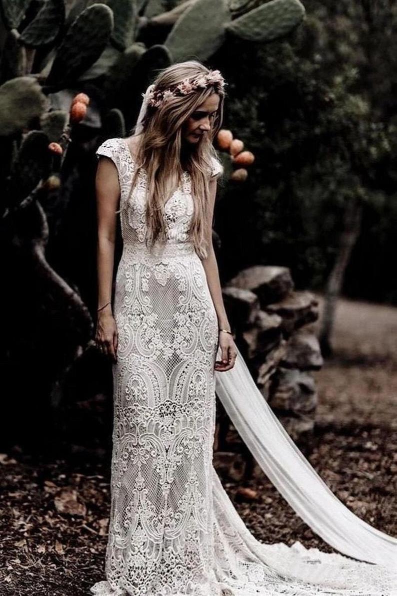 Vintage Crochet Lace Boho Mermaid Wedding Dress V Neck Cap Etsy Wedding Dress Cap Sleeves V Neck Wedding Dress Lace Wedding Dress Vintage [ 1190 x 794 Pixel ]