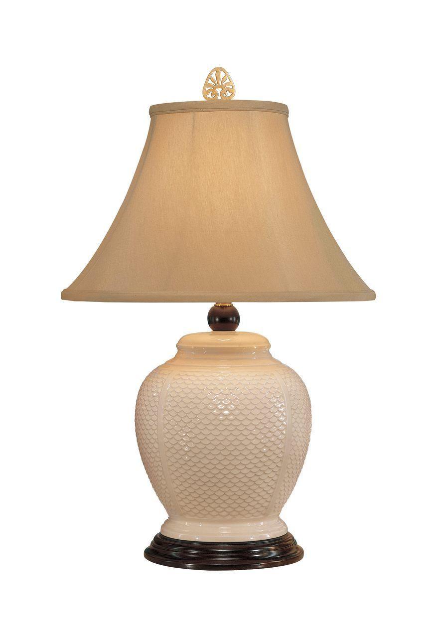 Fish Scale Jar White Ceramic Lamp By Wildwood Lamps 25 In 2020 Table Lamp Decor Jar Lamp