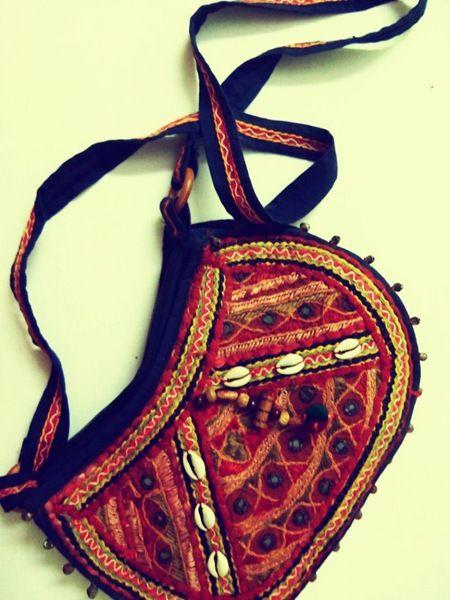 Funky fashion. Indian design bag. #boho #embroidery #kutchi