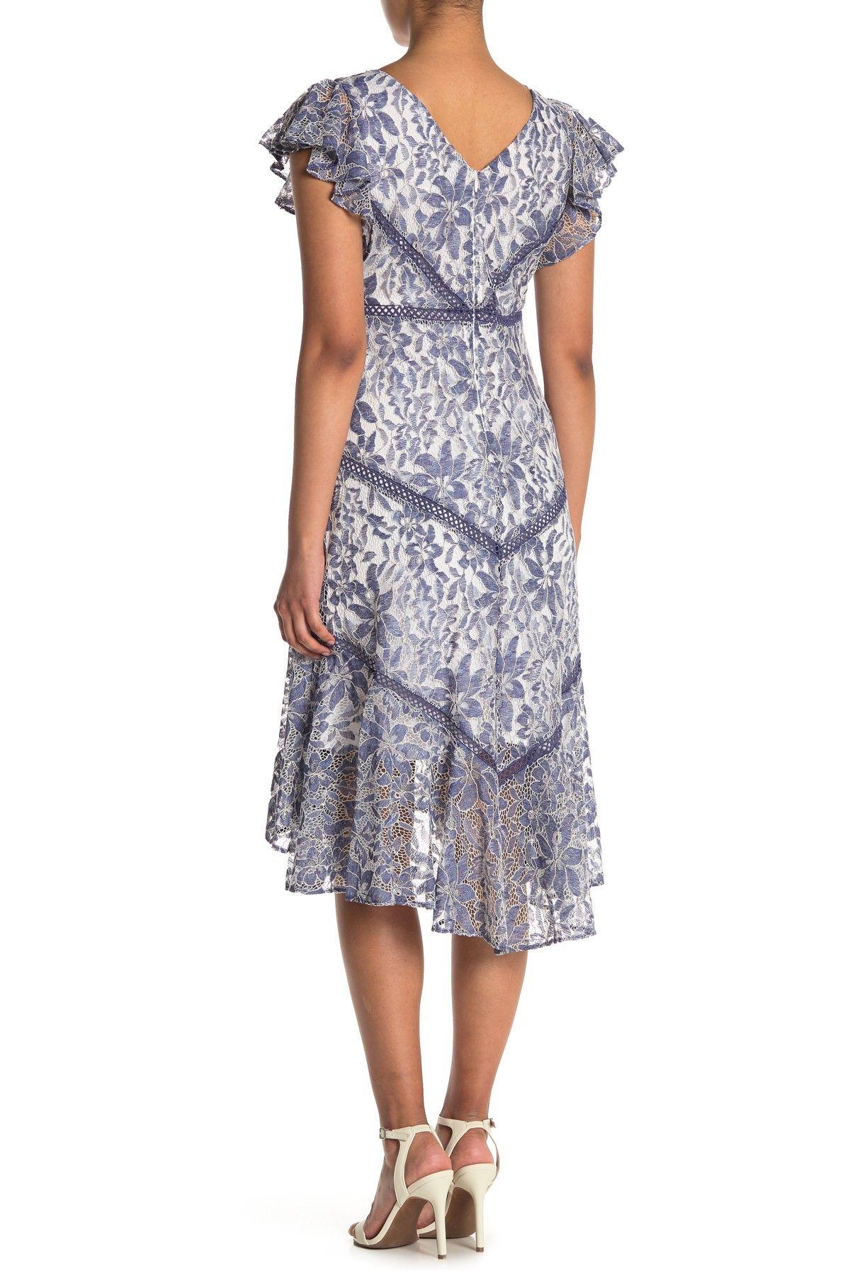 Taylor Flutter Sleeve Stretch Lace Dress Nordstrom Rack In
