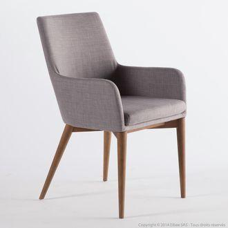 chaise avec accoudoirs en tissu gris clair avec pitement bois lot de 2 monroe kaligrafik port - Chaise En Tissu Gris