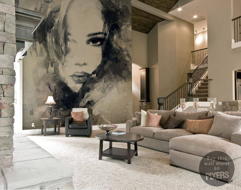 Abstract Woman Portrait Wall Mural Pixers We Live To