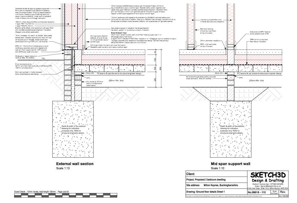Self build passive house ground floor to timber frame