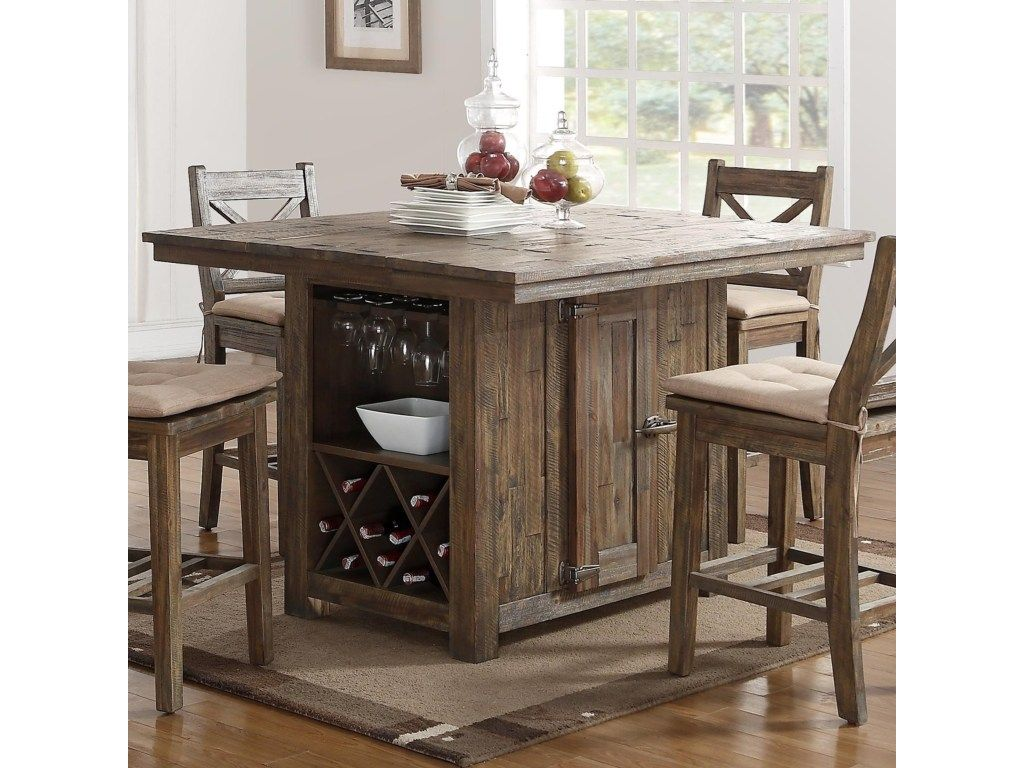 New Classic Tuscany Park Pub Table With Wine Glass And Bottle Storage Royal Furniture Tall Kitchen Table Kitchen Table Settings Kitchen Table With Storage