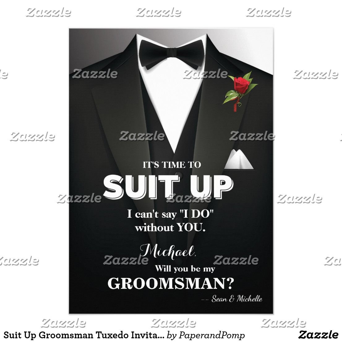 Suit Up Groomsman Tuxedo Invitation A groom needs his friends in ...
