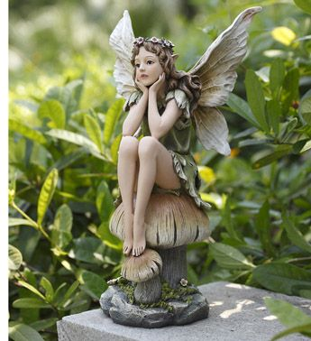 Fairy Sitting On Mushroom Fairy Statues Fairy Drawings Fairy Artwork