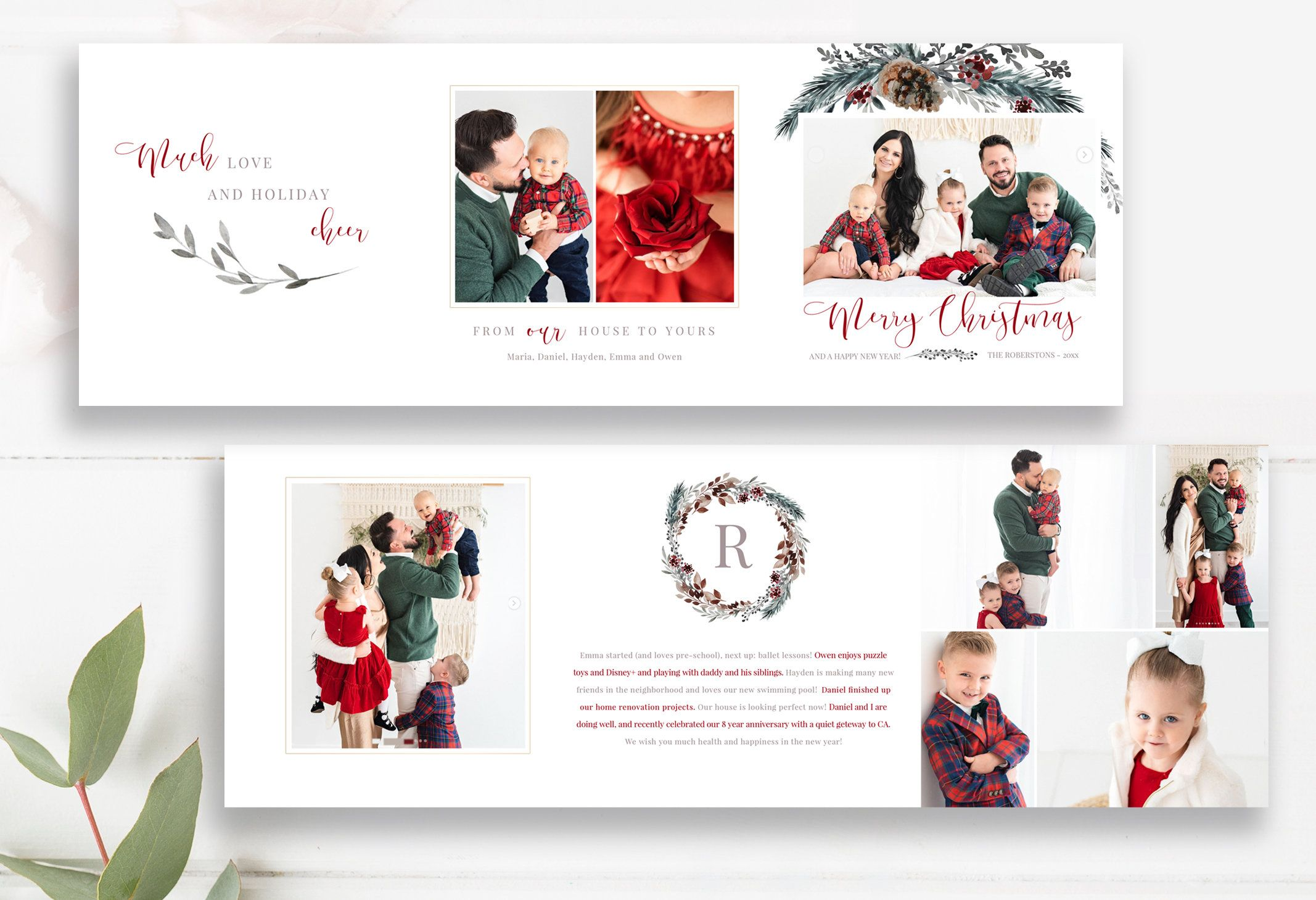 Merry Christmas 5x5 Trifold Photo Card Template Trifold Etsy Holiday Photo Cards Design Photo Card Template Christmas Photo Card Template