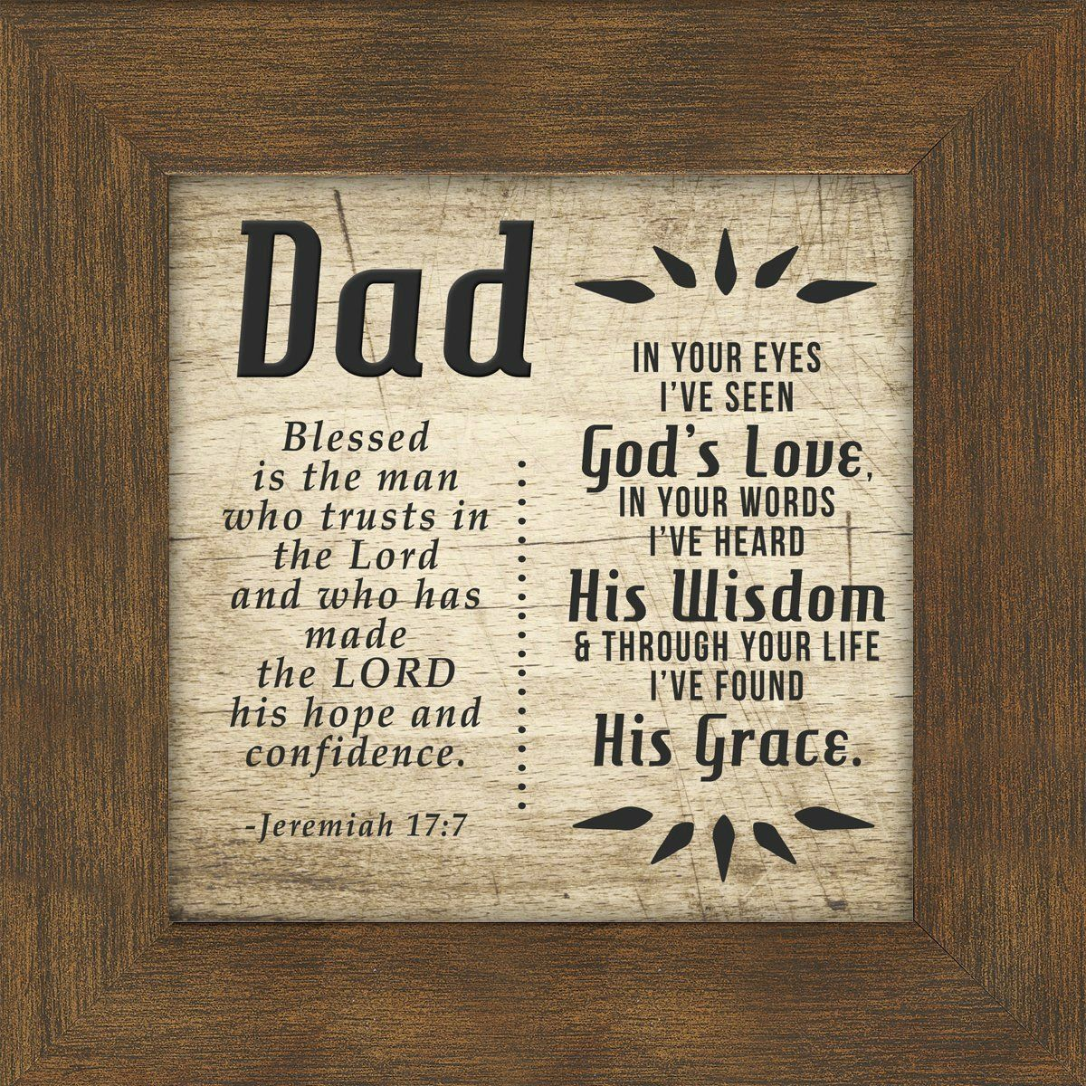 Dad Quotes From Daughter In Spanish: Dad, Father, Jeremiah 17:7, Saying Framed 5X5 Gift