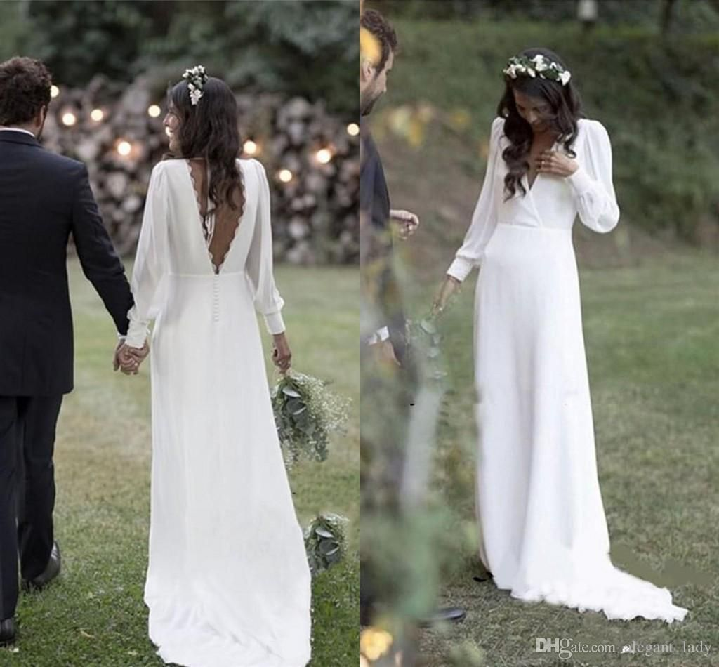 Discount Simple 2019 Bohemian Country Wedding Dresses V Neck Backless Long Sleeve Beach Plus Size W Aline Wedding Dress Country Bridal Gown Cheap Wedding Dress