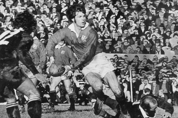 Welsh player Barry John in action during the British Lions' tour of New Zealand, 1971