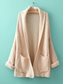 Beige Solid Color Pockets Kimono No Buckle Roll Sleeve Sweater Cardigan