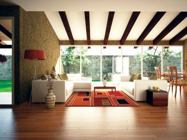 Deckenverkleidung Deckenplatten Holzbalken-Gestaltung mit Licht - wohnzimmer decken gestalten