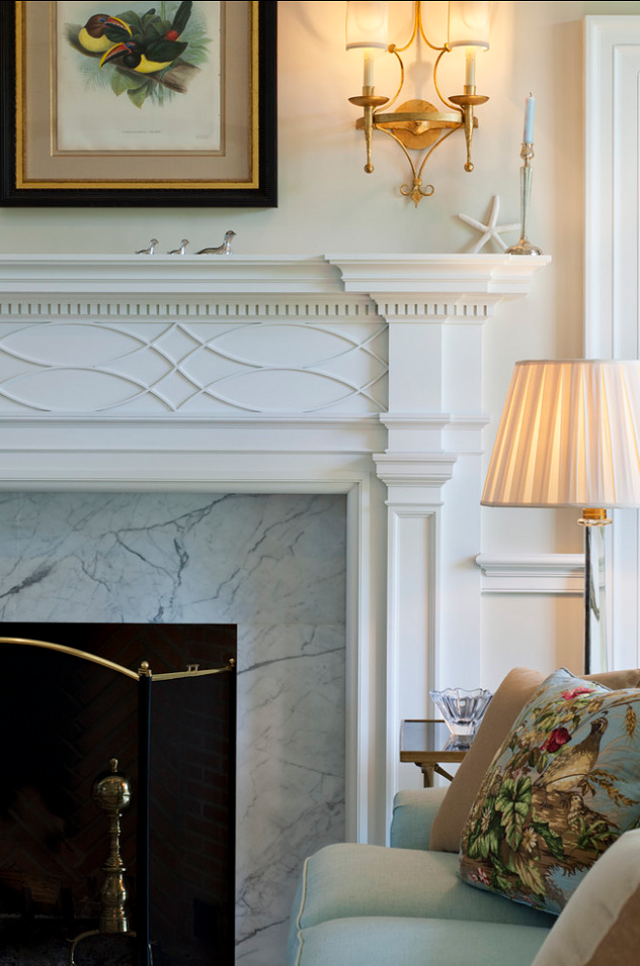 Fireplace With Classic Moulded Mantel And Marble Fire Surround