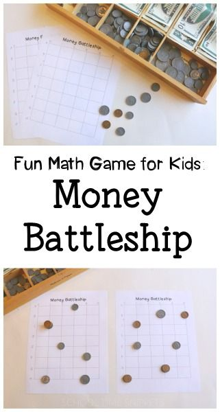 For older kiddos who are ready to count change, this Money - sample battleship game