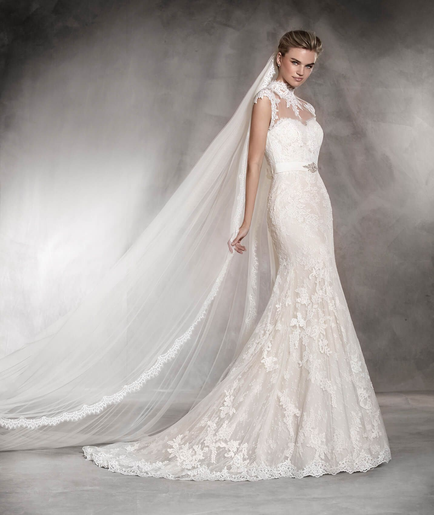 Andrea tulle wedding dress with lace gemstones and a sweetheart