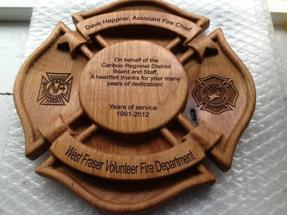 Well known CNC carved, then laser engraved award plaque | Things We Just Like  DM14