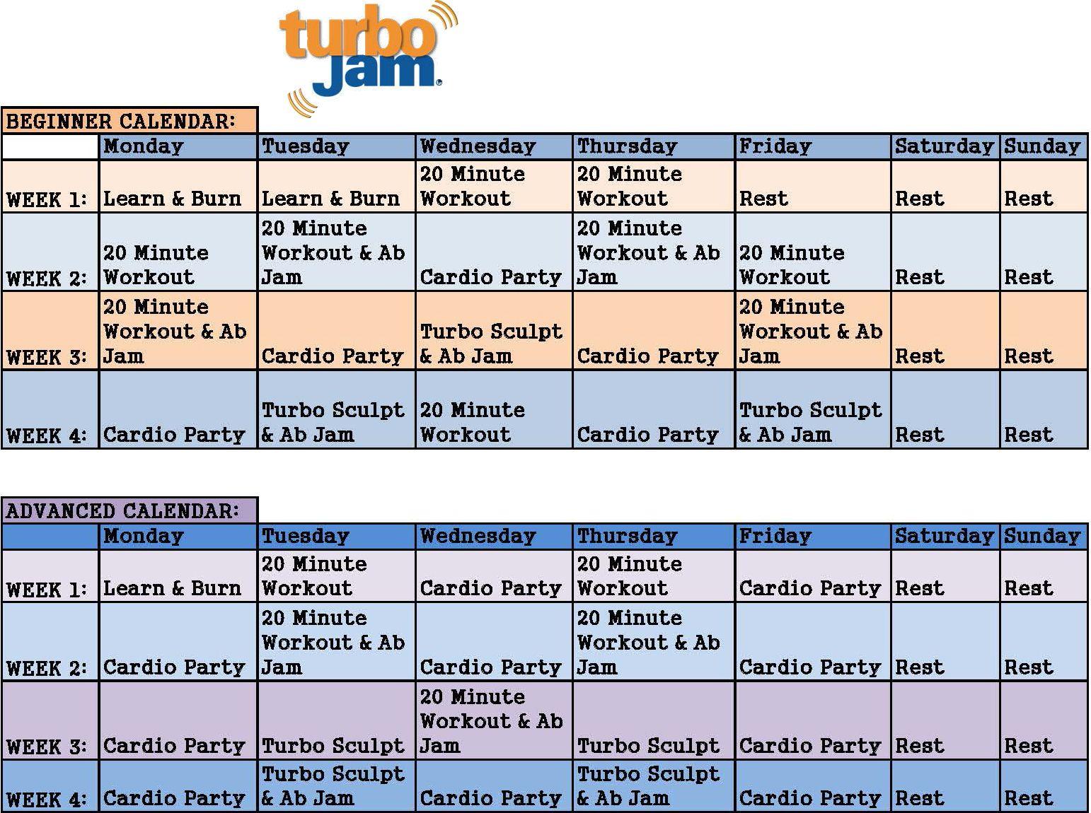 Chalene Johnson Turbo Jam Calendar From Beachbody