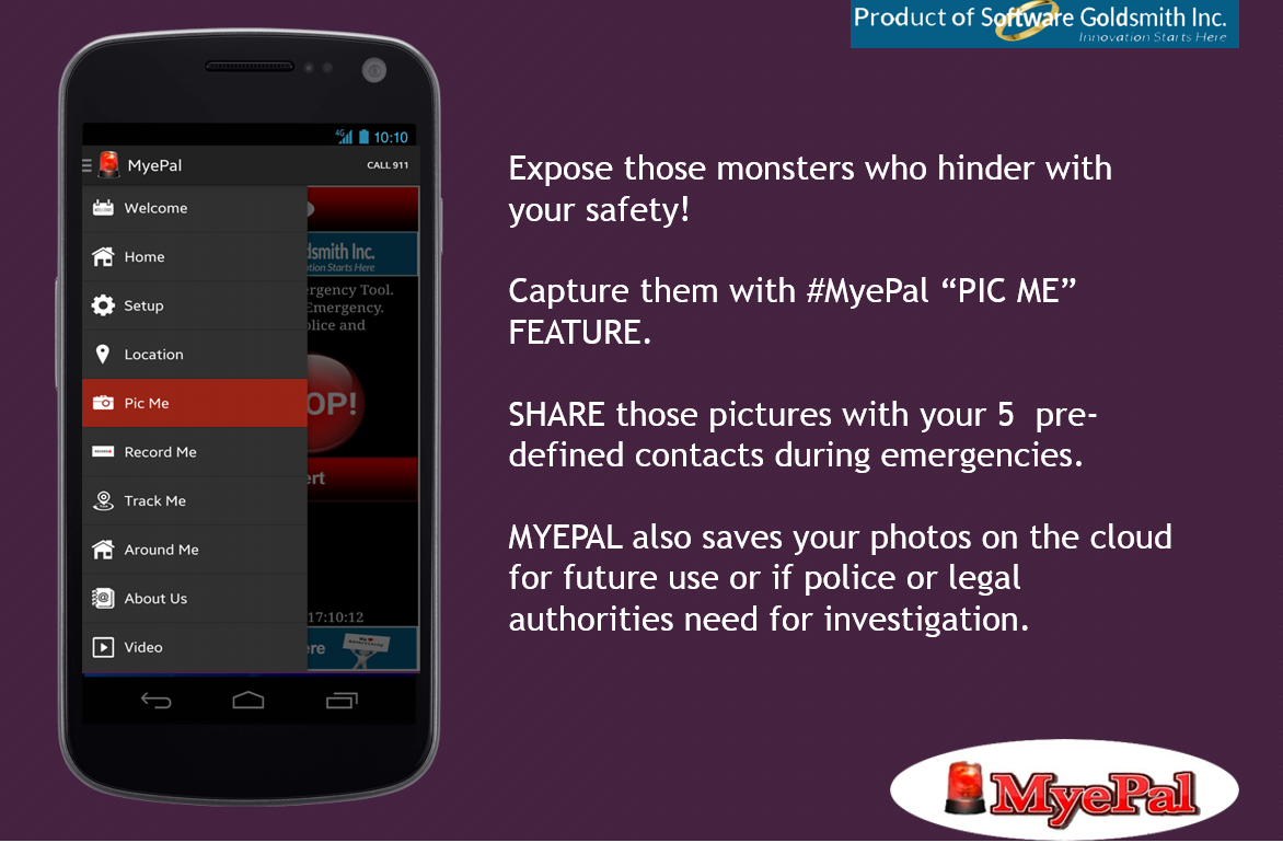 "Expose those monsters who hinder your ‪‎safety‬! Capture them with ‪MyePal‬ ""PIC ME"" FEATURE. SHARE those pictures with your 5 pre-defined contacts during emergencies. Available on ‪GooglePlayStore‬ click here to download: https://goo.gl/Nq2c2y https://goo.gl/D8Ft58"