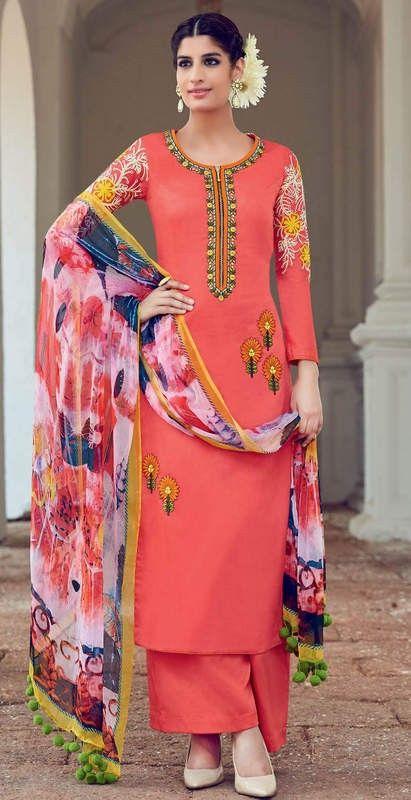Dark Peach Colour Pure Soft Cotton Satin Party Wear Suit With