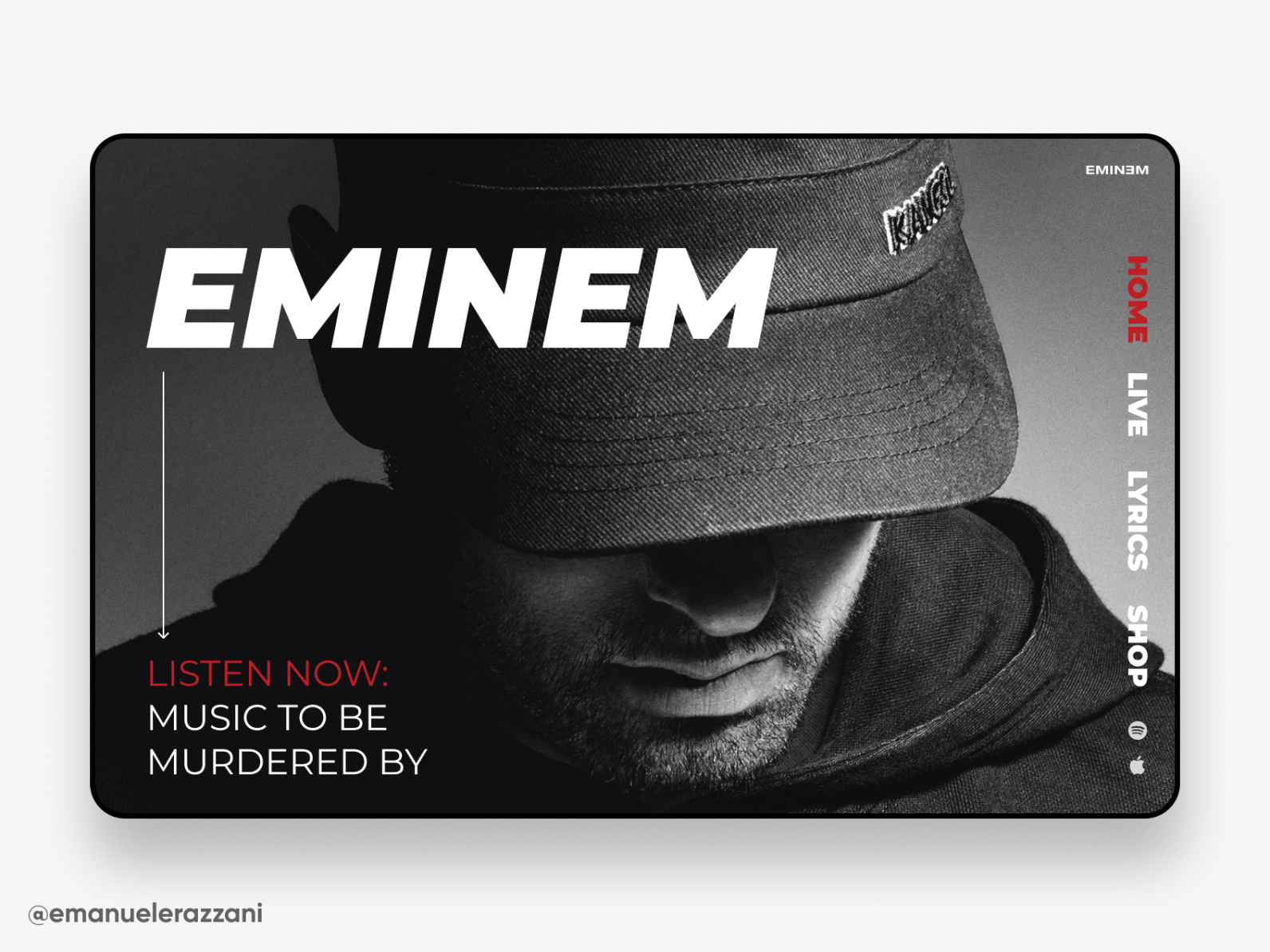 Eminem Site Concept Eminem Web Design Inspiration Concept