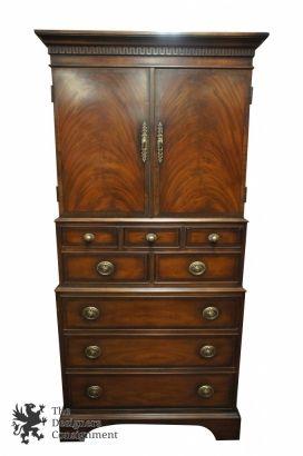 Henredon Aston Court Georgian Flamed Mahogany Armoire Highboy Wardrobe Dresser Bedroom Furniture Design