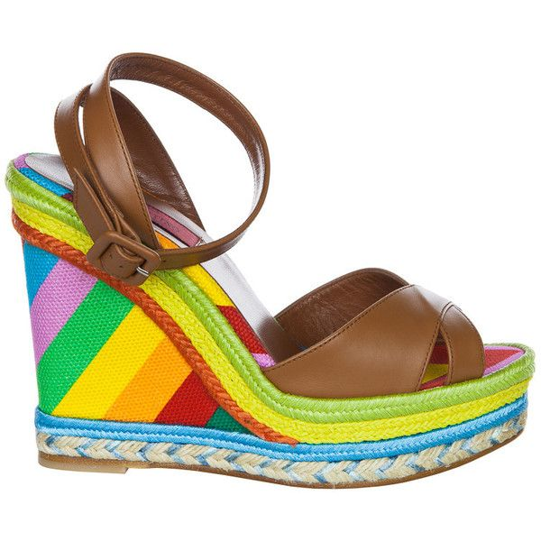 5eab8f04db8 Valentino Multicolor Espadrille Wedge Sandal Brown (9 895 ZAR) ❤ liked on  Polyvore featuring shoes
